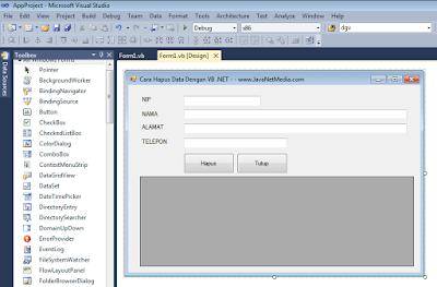 Cara Hapus Data Didalam Database Dengan VB .Net 2010