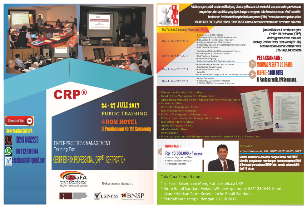 CERTIFIED RISK PROFESSIONAL (CRP) CERTIFICATION PUBLIC TRAINING ...