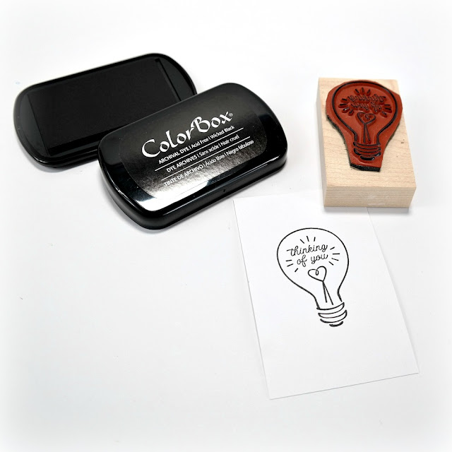 Thinking of You Lightbulb Stamp on White Cardstock
