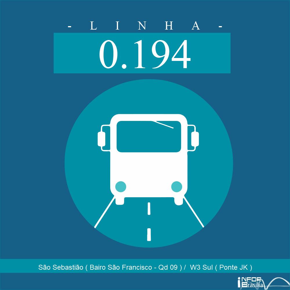 Horário de ônibus e itinerário 0.194 - São Sebastião ( Bairo São Francisco - Qd 09 ) /  W3 Sul ( Ponte JK )