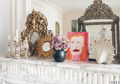 L'Wren Scott's Paris Home fireplace mantal vignette