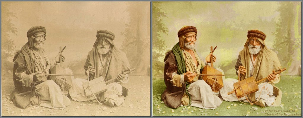 Bedouin violin players / Félix Bonfils,  color, colorization, colorized