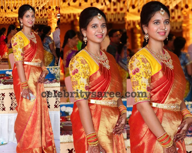 Red Kanchipattu Saree Yellow Work Blouse