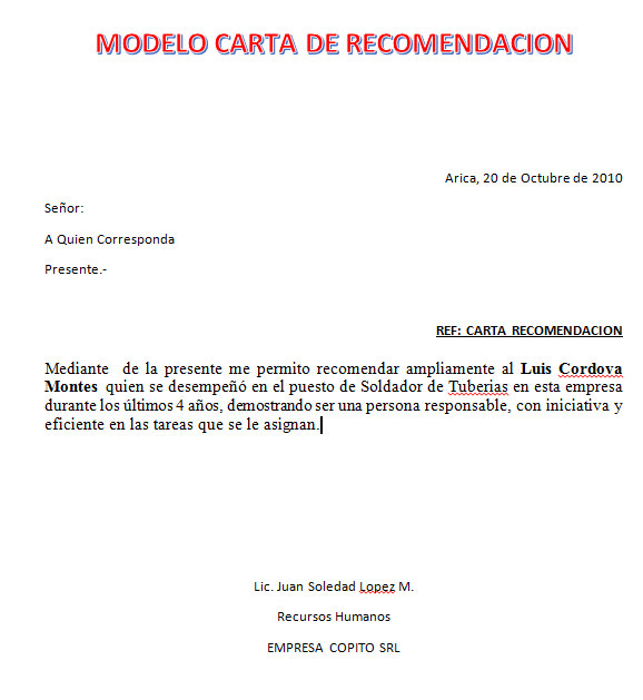 cartas de recomendacion ejemplos