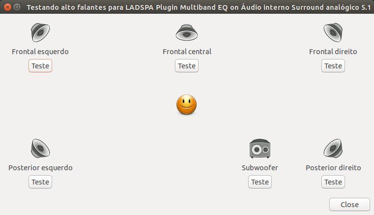 Testando um sistema de áudio interno 5.1 analógico!