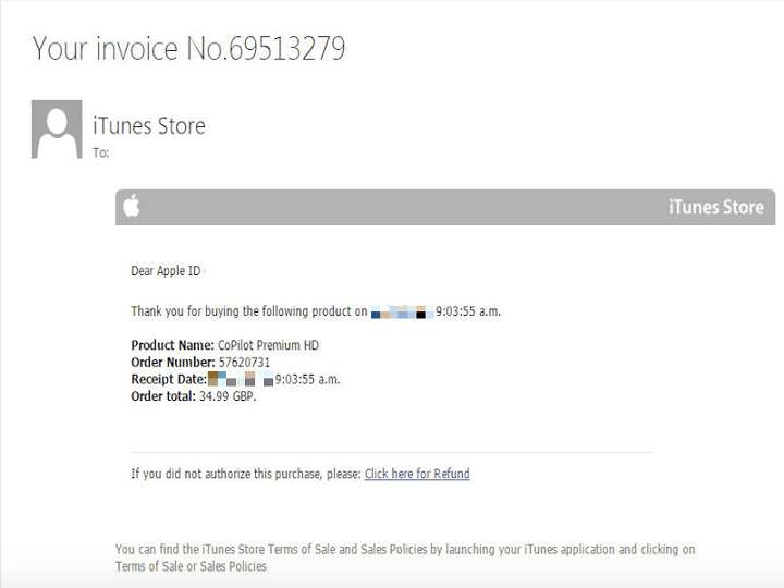 iTunes Phishing email example