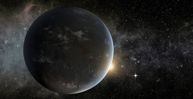 This is an artist's concept of a planet orbiting in the habitable zone of a K star. Credits: NASA Ames/JPL-Caltech/Tim Pyle