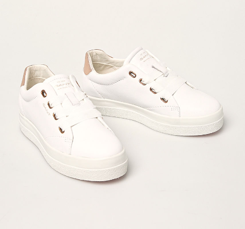 Adidasi dama albi originali firma Gant cu sireturi late