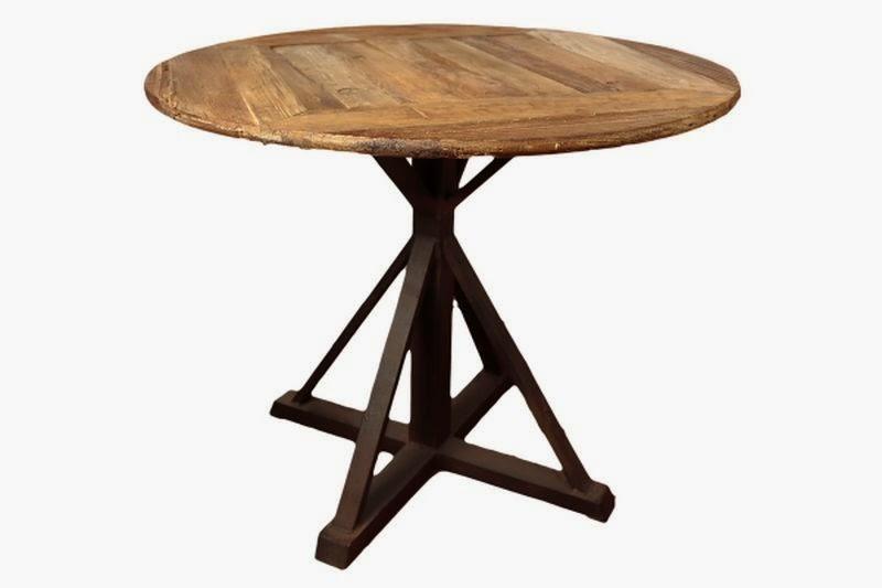 Mesa redonda forja y madera rustica
