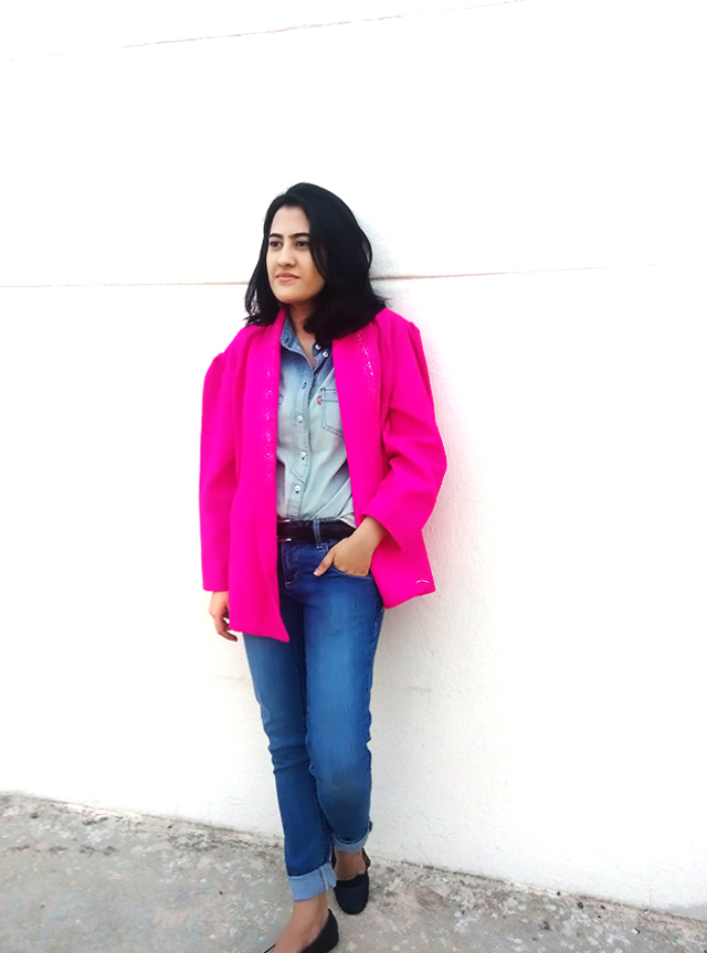 hot pink pink vintage coat,personal style blogger