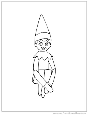 Free elf on the Shelf coloring page for Christmas
