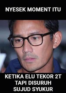Meme Sandiaga Salahudin Uno Sedih Gagal jadi Cawapres di Pilpres 2019 - Sandiaga tekor 2 Triliun Rupiah