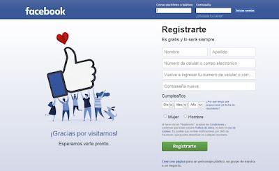 página de bienvenida de Facebook