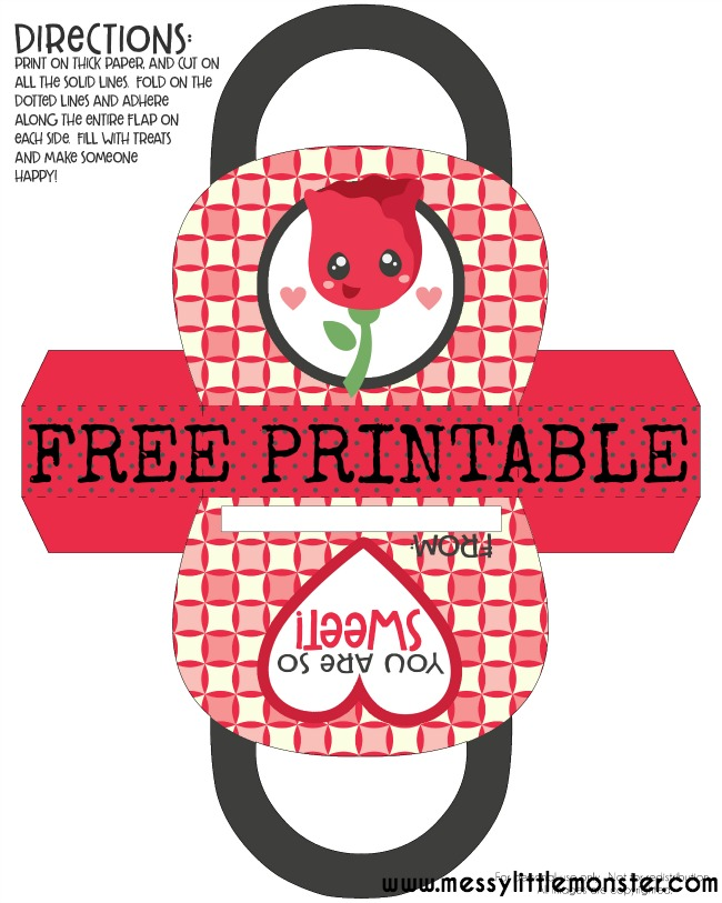 Rose Gift Bag- Valentine Free Printable.  A simple paper craft for kids. Valentines day craft or mothers day craft. Simply follow the instructions to make the bag and fill with sweets.