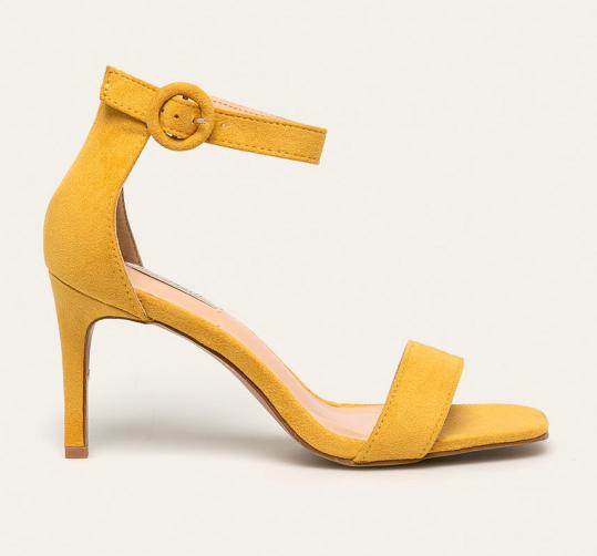 Sandale galbene comode cu toc din piele intoarsa eco