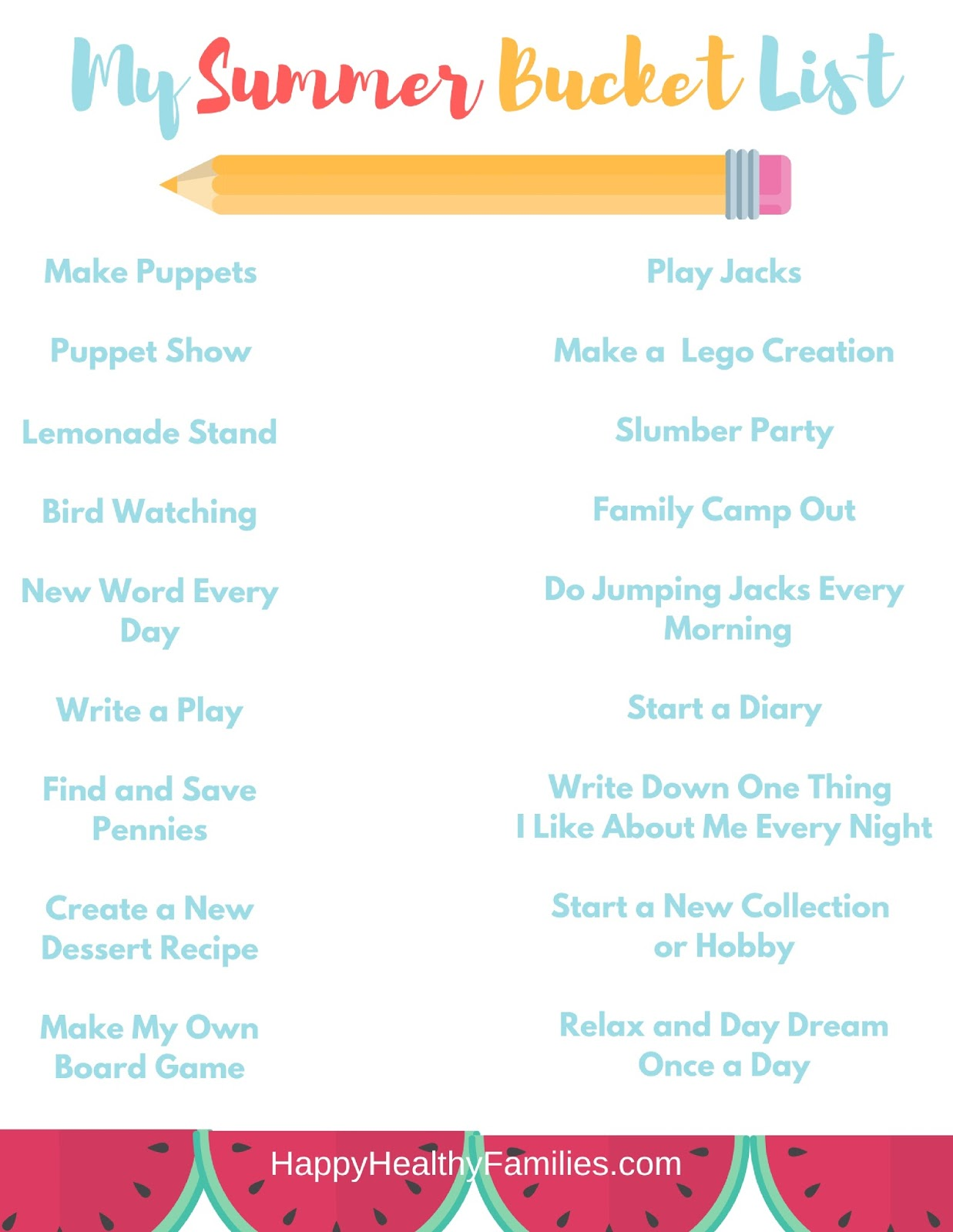 Happy Healthy Families: Printable Summer Bucket List of Fun