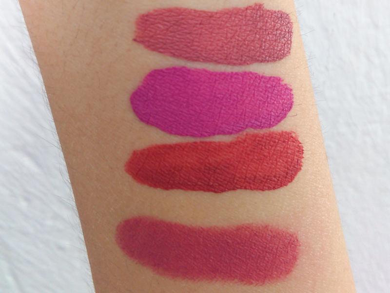swatches from up to down: Sephora cream lip stain - Hean luxury matte - Lovely extralasting- Essence matt matt matt