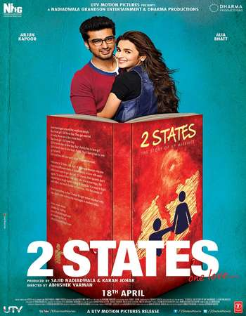 Poster Of 2 States 2014 Hindi 720p BRRip ESubs Watch Online Free Download Worldfree4u