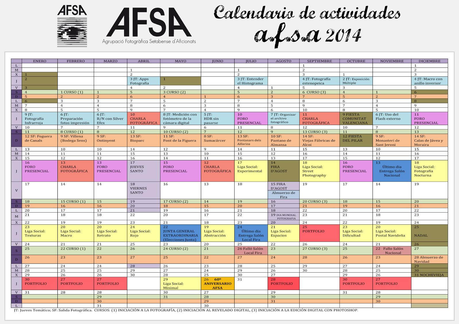 Calendario De Actividades Eventos: Agrupació Fotogràfica Setabense D'Aficionats: Calendario