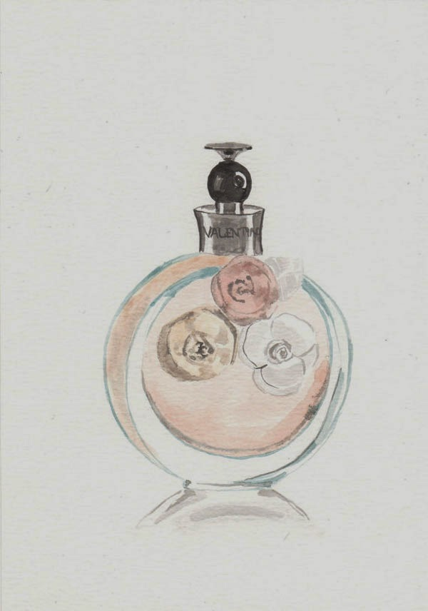 3dc5dc2363dd1 Valentino Valentina EDP Fragrance - Watercolor Perfume bottle illustration  via Milk Foam
