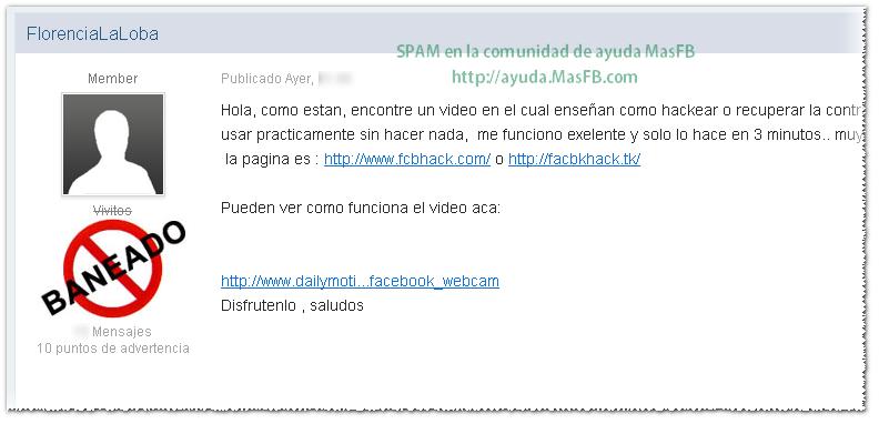 SPAM de fcbhack en MasFB