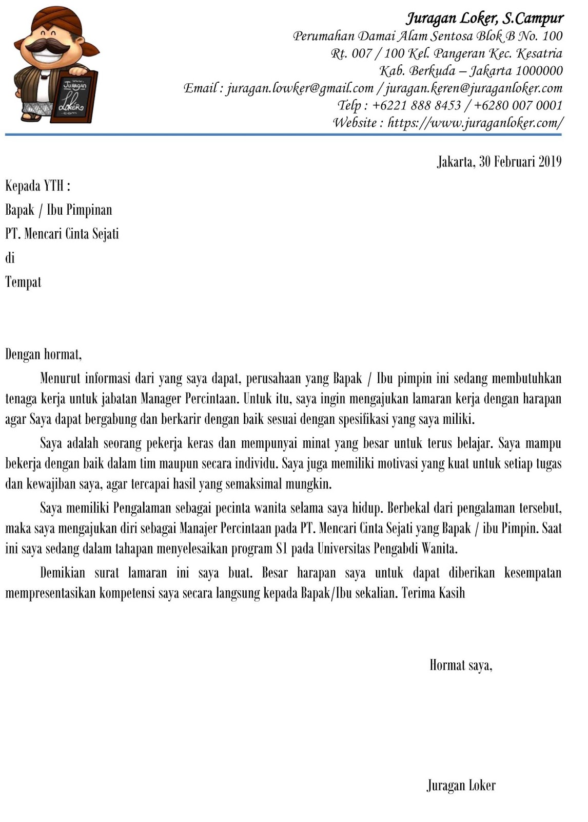 Contoh Surat Lamaran Kerja Di Pabrik Nabati Contoh Surat Lamaran Kerja