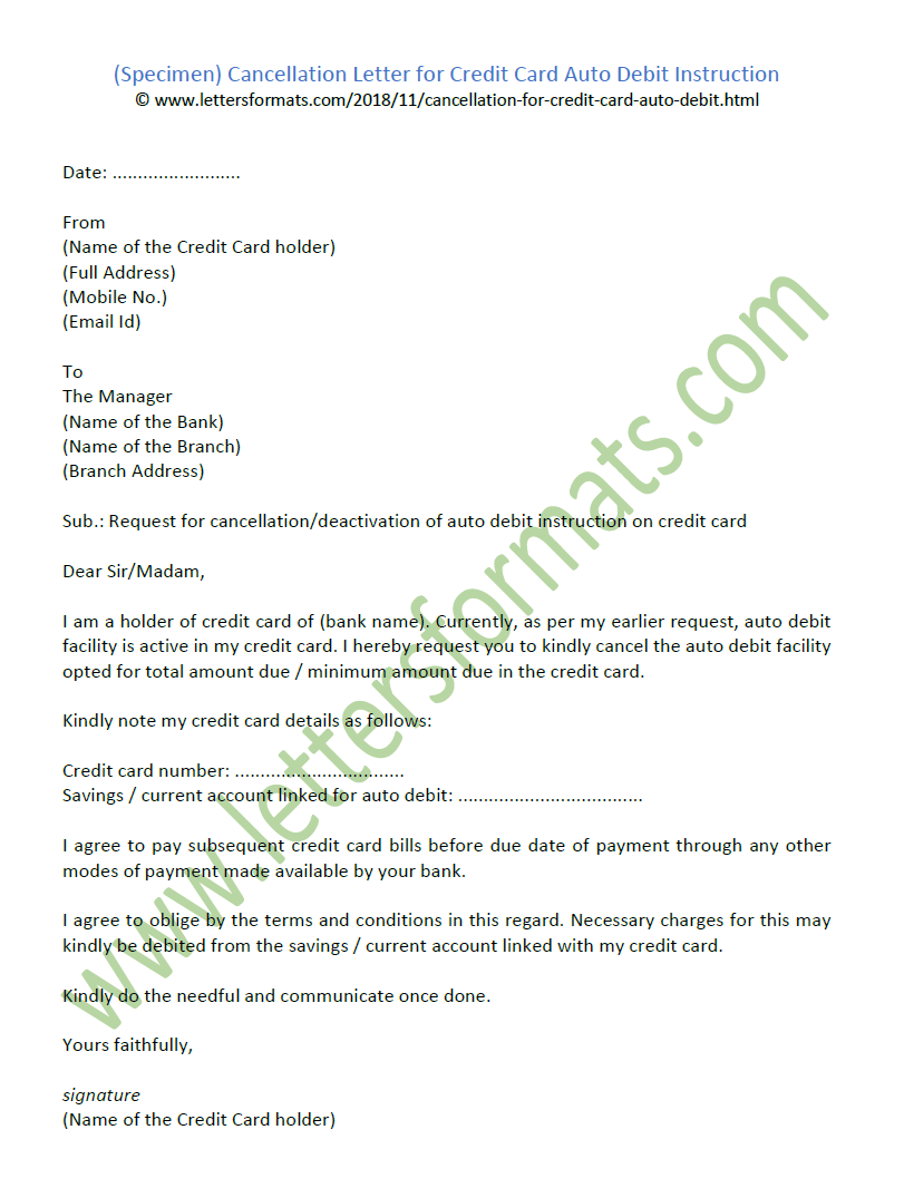 Cancellation Letter for Credit Card Auto Debit Instruction (Sample)