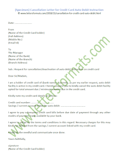 Cancellation Letter for Credit Card Auto Debit Instruction