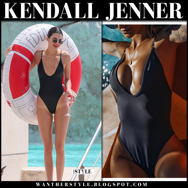 Kendall Jenner in black one piece swimsuit gooseberry model beach style cannes 2018