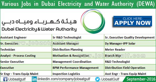 Various Job Vacancies in Dubai Electricity and Water