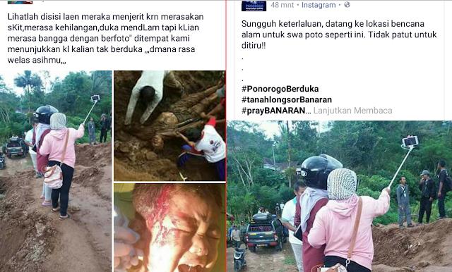 Miris...! Wanita Ini Datang Ke Tempat Bencana di Ponorogo Hanya Untuk Selfie