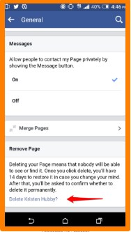 how to delete facebook page on mobile phone