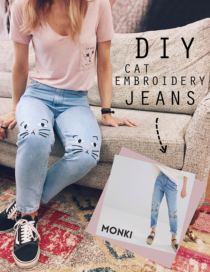 DIY: MONKI ''CAT EMBROIDERY'' INSPIRED JEANS
