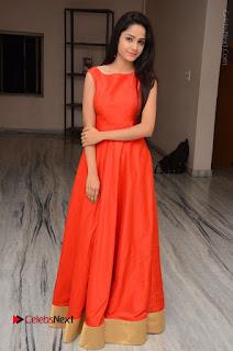 Telugu Actress Divya Nandini Stills in Orange Sleeveless Gown at Chennai Chaitrama Movie le Launch Event  0123.JPG