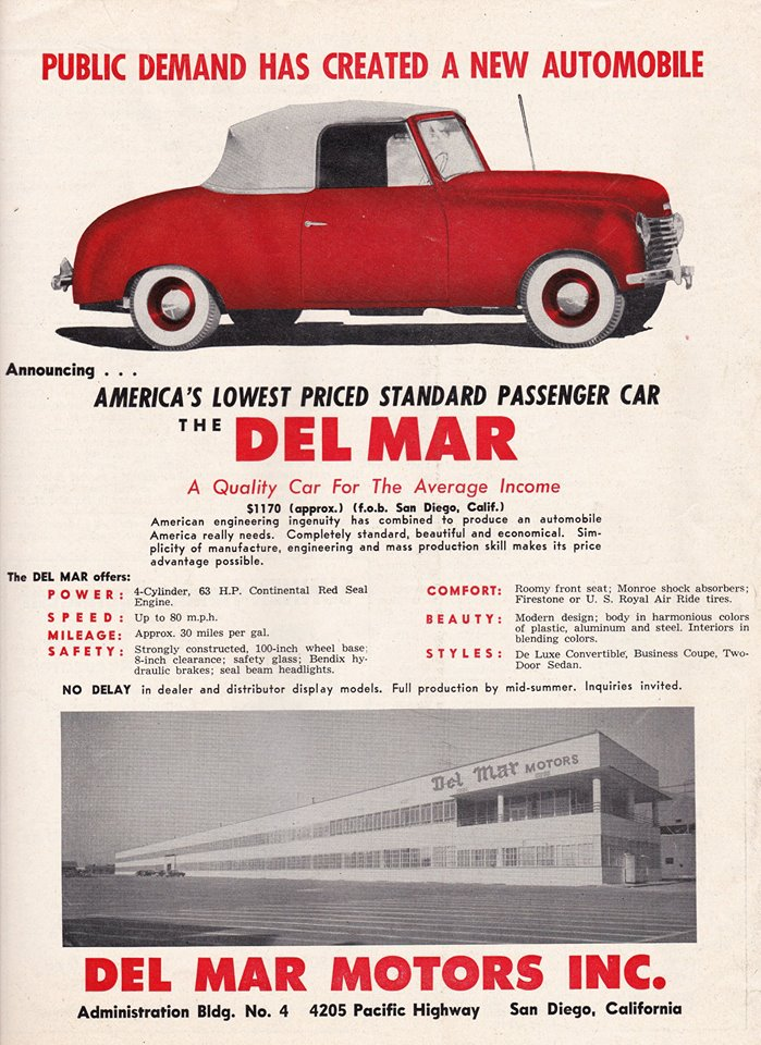 Along For The Ride: Del Mar Motors...A San Diego Connection