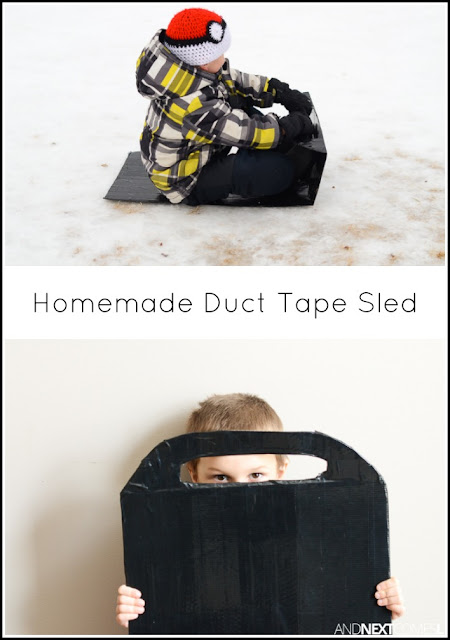 How to make a duct tape sled - a fun winter craft for kids from And Next Comes L