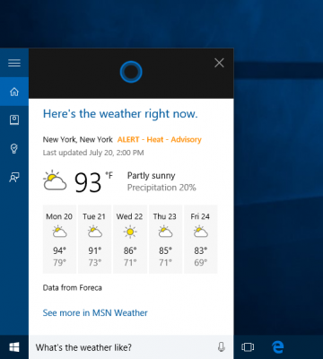 contoh perintah pada Cortana Windows 10