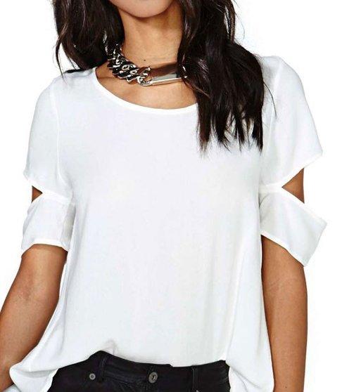 Summer Chiffon Women Round Neck Backless Plain Short Sleeve Blouses Regular price $39.59 USD ---$12.00 USD Sale