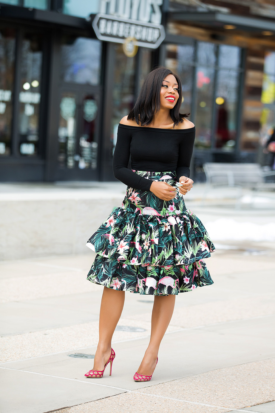 print high-waist ruffle hem skirt, www.jadore-fashion.com