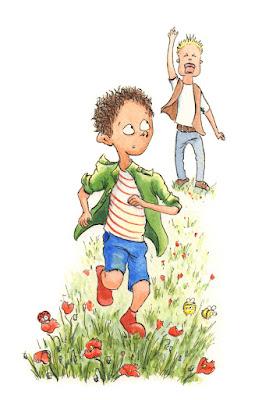garçon qui court illustration nature coquelicot