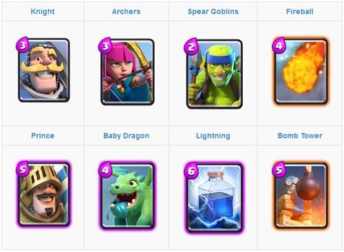 Menggunakan Prince dan Baby Dragon Card untuk kartu deck arena 2