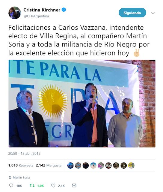Río Negro: el Frente para la Victoria ganó en Villa Regina. Cambiemos, tercero. Cristina envió felicitaciones
