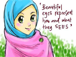 kartun wanita muslimah