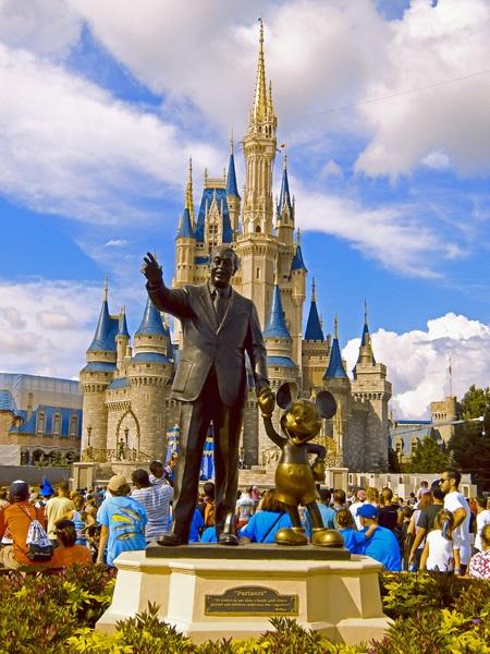 "Walt abd Mickey ""Partners"" Statue and Cinderella Castle  at Walt Disney World Resort"
