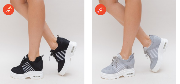 Pantofi sport femei moderni cu talpa inalta model pe gri si negru