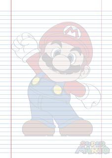 Folha Papel Pautado do Super Mario em PDF para imprimir na folha A4