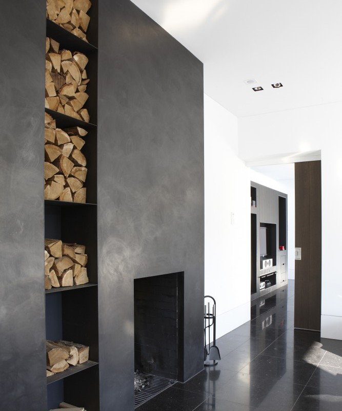 Modern dark grey fireplace design