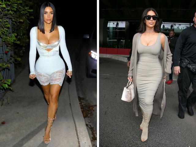 Ким Кардашьян в платьях в обтяжку