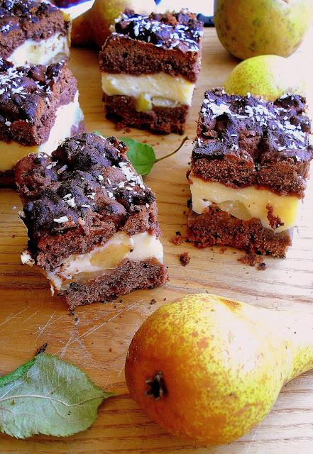 Ciasto z gruszkami i budyniem / Chocolate pudding cake with pears