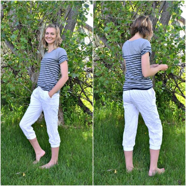 Me Made: DIY Refashion White Linen Joggers
